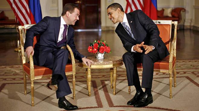 Dmitrij Medvegyev és Barack Obama