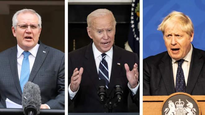 Scott Morrison, Joe Biden, Boris Johnson