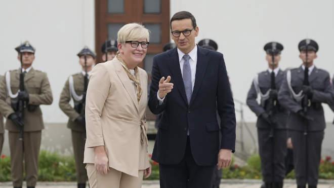 Ingrida Simonyte litván éa Mateusz Morawiecki lengyel kormányfő
