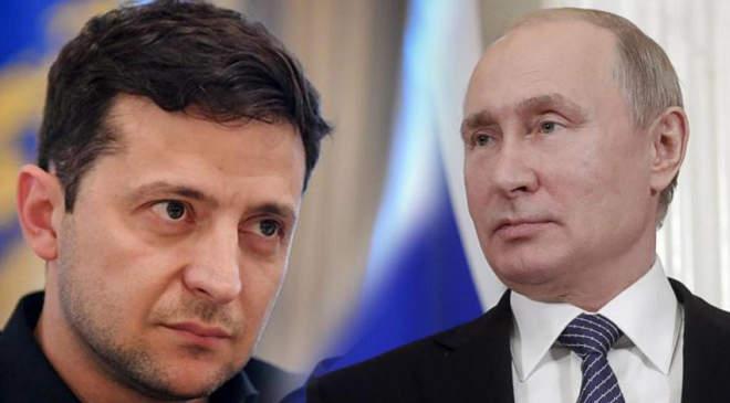 Volodimir Zelenszkij ukrán és Vlagyimir Putyin orosz elnök