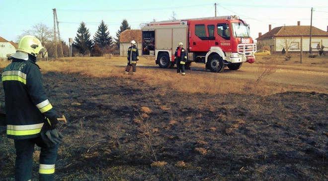 Tarlótüzet oltanak a csabrendeki tűzoltók