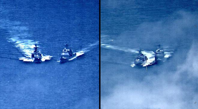 Az amerikai haditengerészet által közzétett két képen az amerikai haditengerészet cirkálója, az USS Chancellorsville (jobbra) és az orosz romboló Vinogradov admirális látható, amikor majdnem összütköztek 2019-ben.