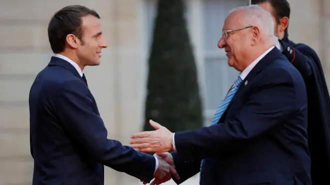 Emmanuel Macron francia államfő és Reuven Rivlin izraeli elnök