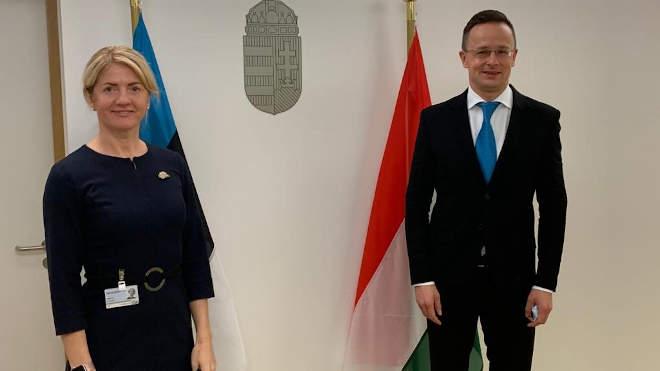 Eva-Maria Liimets észt külügyminiszter és Szijjártó Péter magyar külgazdasági és külügyminiszter